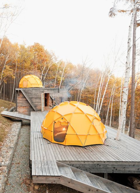 """This is *exactly* what I want to start out at our rec property: a large tenting platform, with a kitchen and bathroom.  Seriously breathtaking.  """"It's finely balanced between rustic camping and feeling like the Farnsworth House.""""  Designed by Shin Ohori of General Design Co.  Via Dwell."""