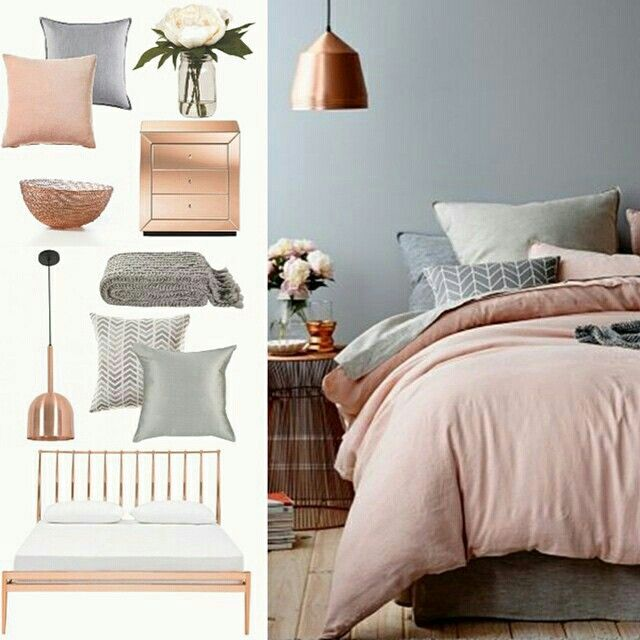 Copper grey & blush bedroom