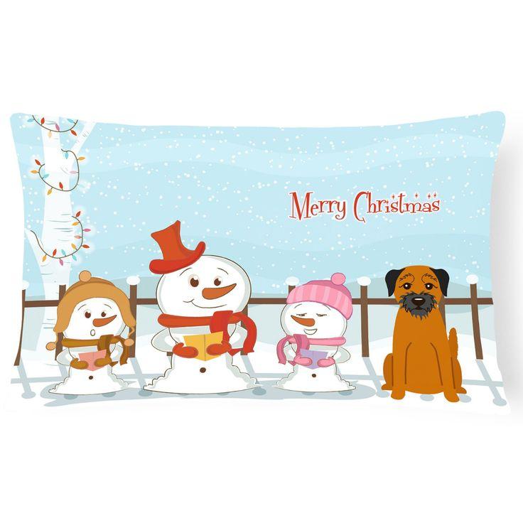 Carolines Treasures Merry Christmas Carolers Border Terrier Outdoor Pillow - BB2370PW1216