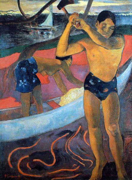 Paul Gauguin: lots of paintings & info. L'homme à la hache - Tahiti 1891. Post -Impressionism                                                                                                                                                                                 Plus