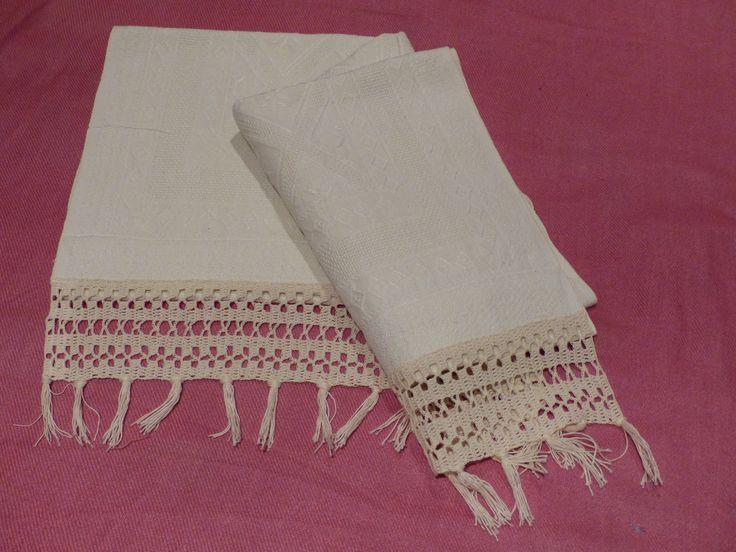 bordo uncinetto per asciugamano in lino
