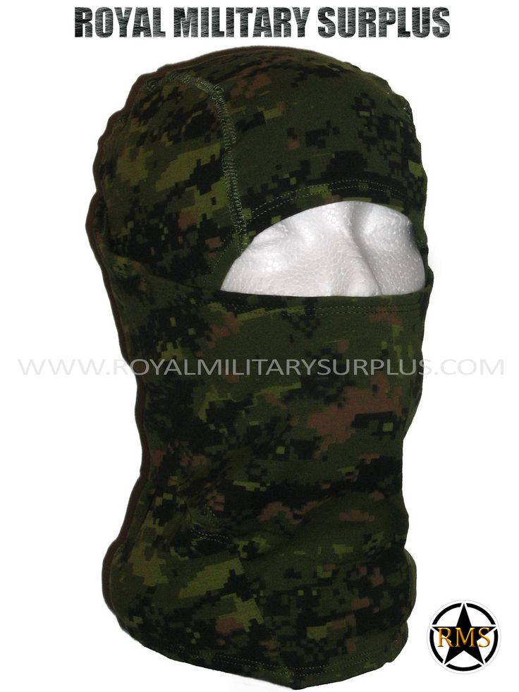 This CADPAT Camouflage Pattern Military Balaclava / Hood is in use by Canadian Forces. Made following Military Specifications (Adaptive/Ninja Style). All items are brand new and available. In use by Army, Military, Police and Special Forces of International Forces. Visit our Website at www.royalmilitarysurplus.com