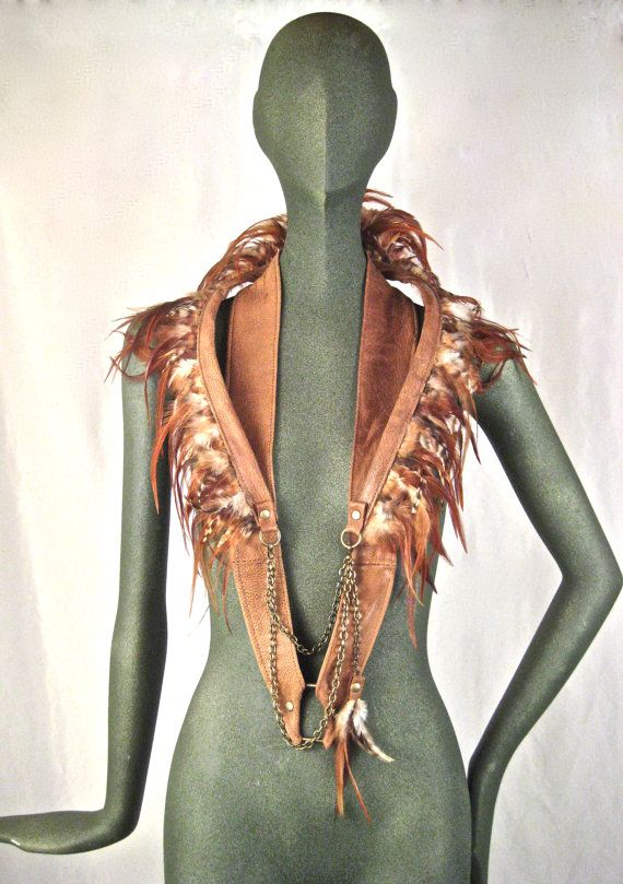 Unisex, leather, feather, exotic, burning man, mad max, club wear, tribal, fire,statement piece, Renegade Icon :Rara avis collection