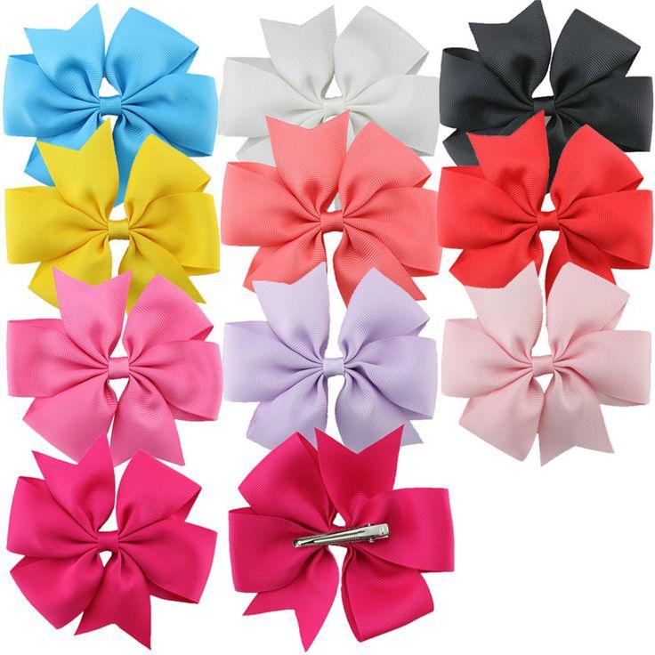 "10pcs/set  4.5"" Big baby Hair Clip Bow  Boutique Girls Kids Grosgrain Ribbon  Hair  Large bow Alligator Clips Hair Accessories"