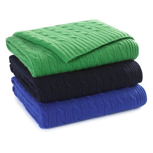 Ralph Lauren Classic, Kelly Green Cable Cashmere Throw Blanket