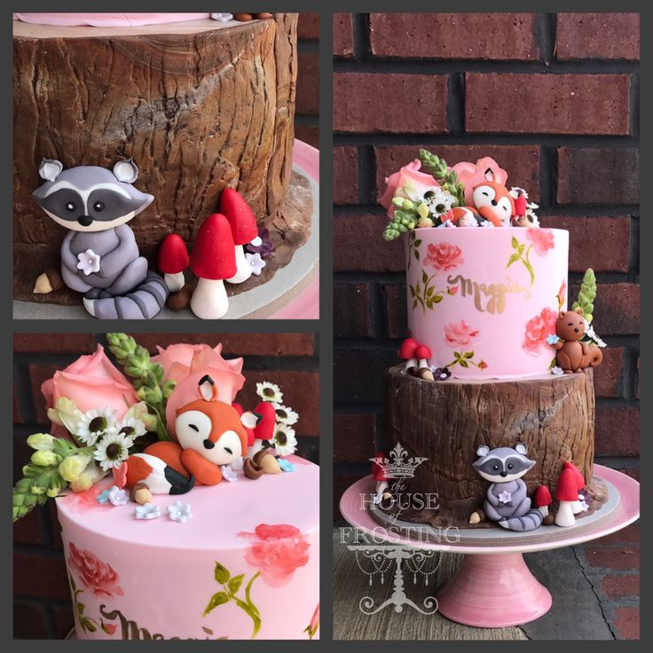 Woodland baby shower cake for baby girl with hand painted roses and birch bark