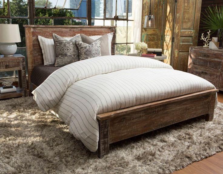 hampton rustic teak wood california king bed frame