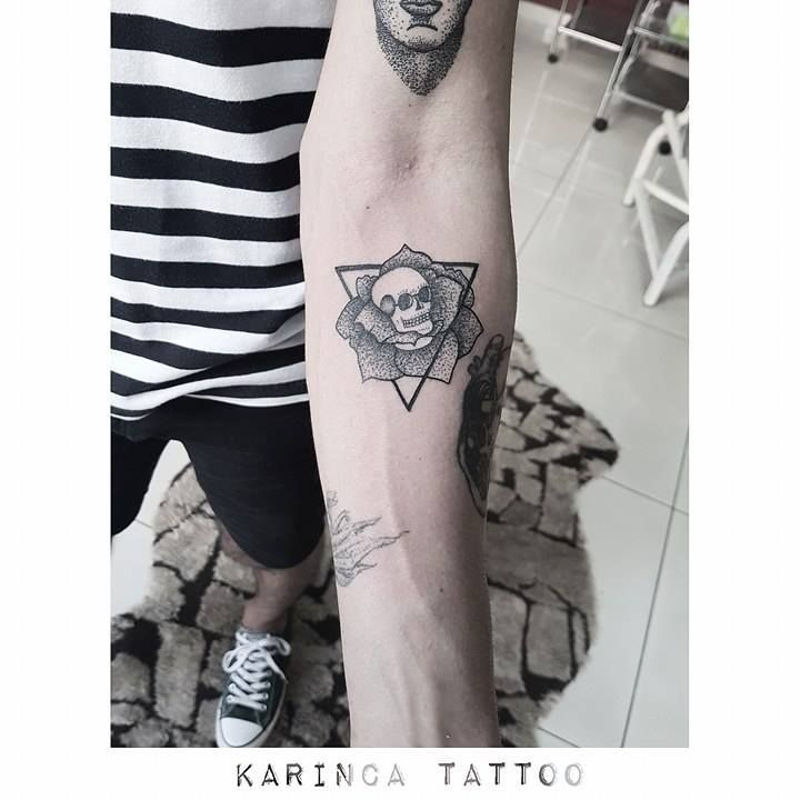 All pictures belong to me http://instagram.com/karincatattoo #skull #tattoo #arm #tattoos #rose #triangle #dotwork #dövme #istanbul #turkey #tattooer #tattooart #tattooartist #black #dot