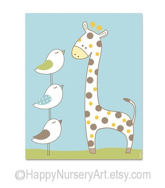 Happy giraffe baby room nursery wall art , toddlers art , boy nursery art cute birds children wall hanging