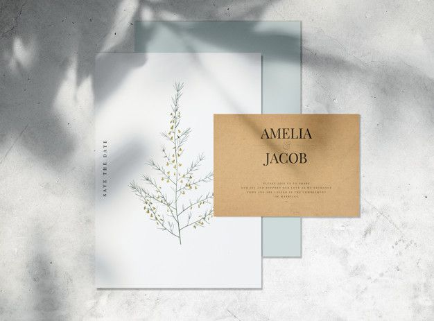 Save The Date Wedding Invitation Card Mockup Psd File Free