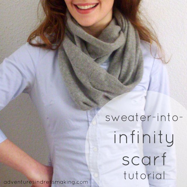 Amazing sweater-into-infinity scarf-tutorial