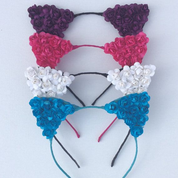 Flower cat ear headband festival wear music by SoCalBySteph