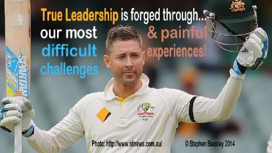 In Memory of Phillip Hughes  The Captains knock by Captain Michael Clarke demonstrates that our greatest achievements are created out of our most difficult challenges and painful experiences. Congratulations on your tonne, we salute you as a leader by how you honoured your fallen mate, Phillip Hughes!