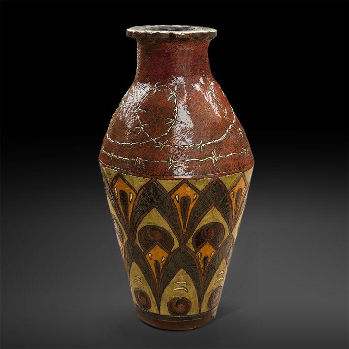 An original vase by Lucinda Mudge entitled: After Catteau II, ceramic / gold luster, h 57cm For more please visit www.finearts.co.za