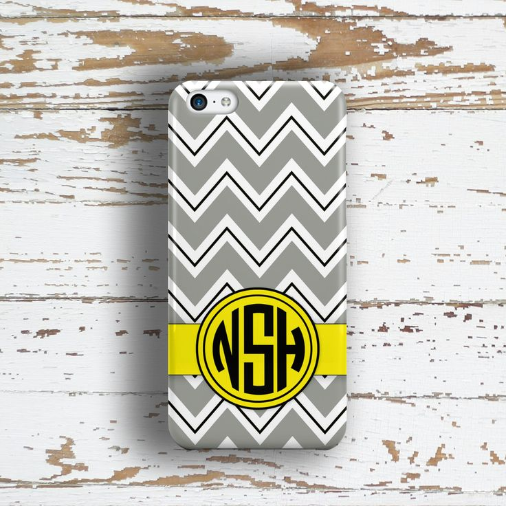 Preppy fashion accessory Iphone 5c case, Chevron Iphone 6 case, Personalized iPhone 5s case, Monogram iPhone 4s case, Yellow gray (1412P) by ToGildTheLily on Etsy