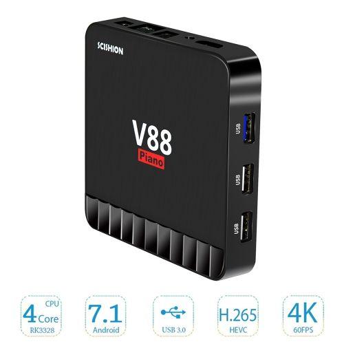 SCISHION V88 Piano Smart 4GB / 16GB Android 7.1 TV Box RK3328