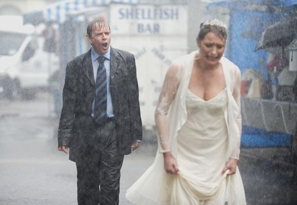 Ian and Jane's disastrous wedding played by Adam Woodatt and Laurie Brett.