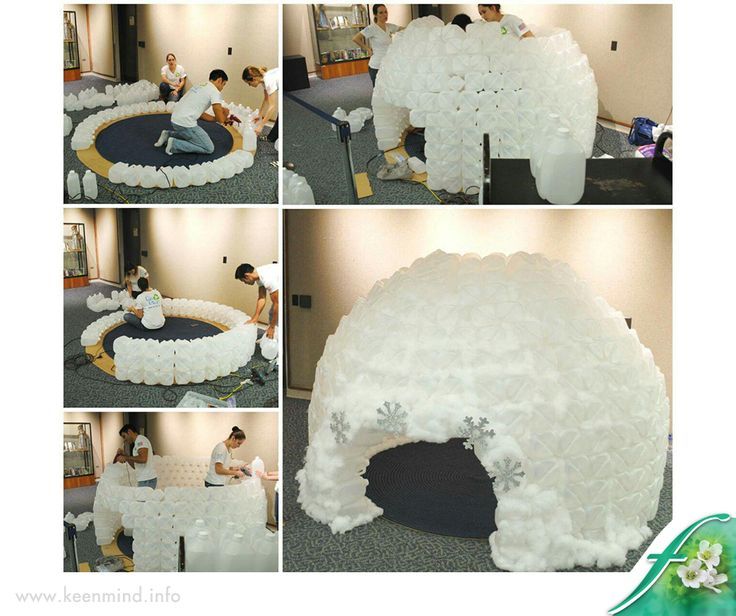 This IGLOO, built out of MILK JUGS is a fun craft idea and would be so cute in a classroom. For full instructions, click here: http://asite.link/72X. Source: Replay Report. #DIY #Flordis #KeenMind