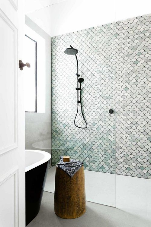 *LOVE THIS CONCEPT: One wall in shower is a patterned tile, the other two are plain slabs of tile
