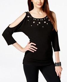 INC International Concepts Cold-Shoulder Embellished Top, Only at Macy's