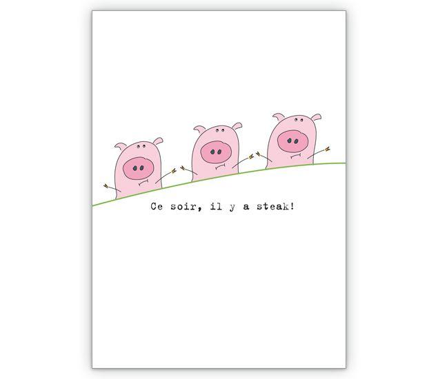 Lustige Einladungskarte Zum Essen: Ce Soir, Il Y A Steak!   Grusskarten  Onlineshop