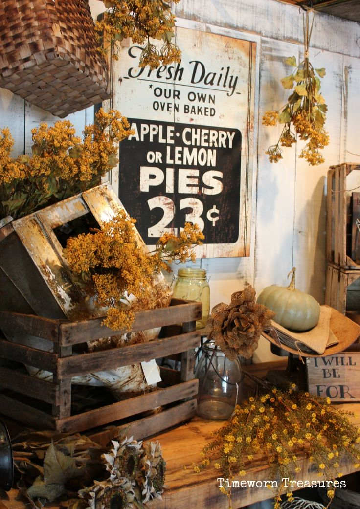 Fall display. Fall decorating. Fall retail decorating ideas.   Timeworn…