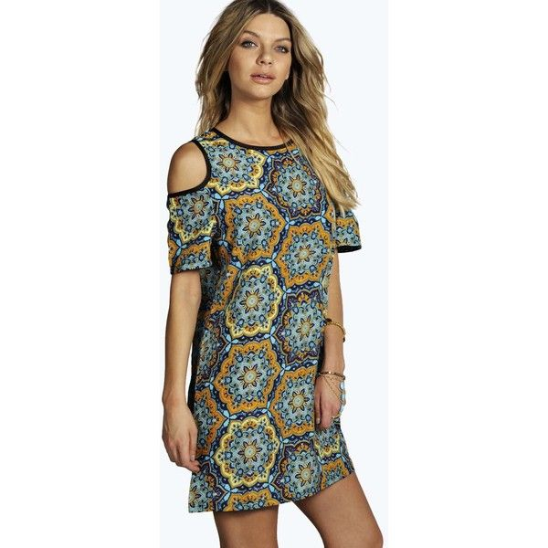 Boohoo Yolanda Printed Cold Shoulder Shift Dress featuring polyvore, fashion, clothing, dresses, body con dress, open shoulder dress, cami dress, special occasion dresses and boohoo dresses