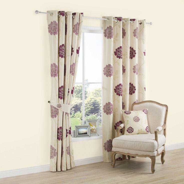 Lavandula Cream & Purple Floral Applique Eyelet Lined Curtains (W)167cm (L)183cm | Departments | DIY at B&Q
