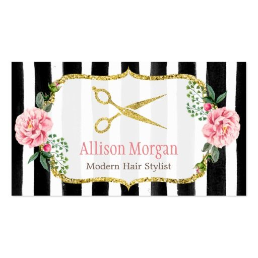 Hair Stylist Floral Gold Scissors Appointment Card Pack Of Standard Business Cards
