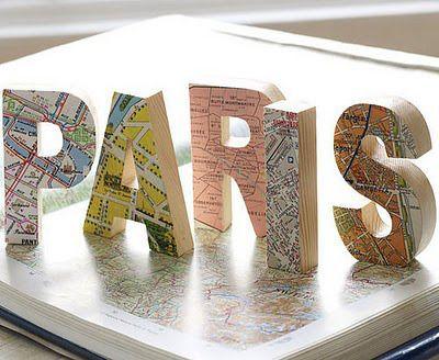 Letras de madera decoradas con mapa de paris - Letras de madera decoradas ...
