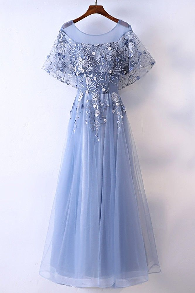 Shop affordable Different Blue Cap Sleeve Long Party Dress For Formal online. Custom-made any plus size or color. Pro since 2009.