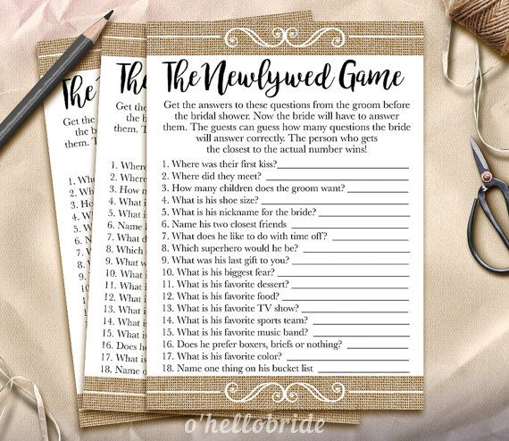 The Newlywed Game Bridal Shower Game - Guess What the Groom Said Printable Rustic Burlap Bridal Shower Game - Bachelorette Party Games 002