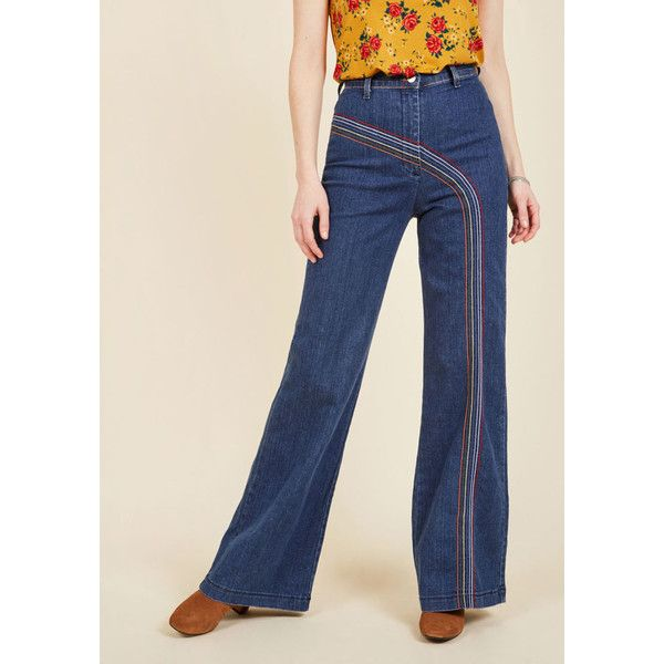 Rainbow with Me Jeans ($70) ❤ liked on Polyvore featuring jeans, apparel, bottoms, denim pant, varies, wide denim pant, high waisted jeans, button fly jeans, high rise jeans and high waisted blue jeans