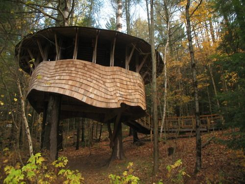 Public treehouse designed and built by students at the Yestermorrow school
