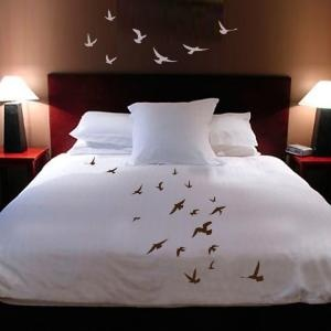Bed in flight - Handpainted Birds in Flight duvet cover and wall