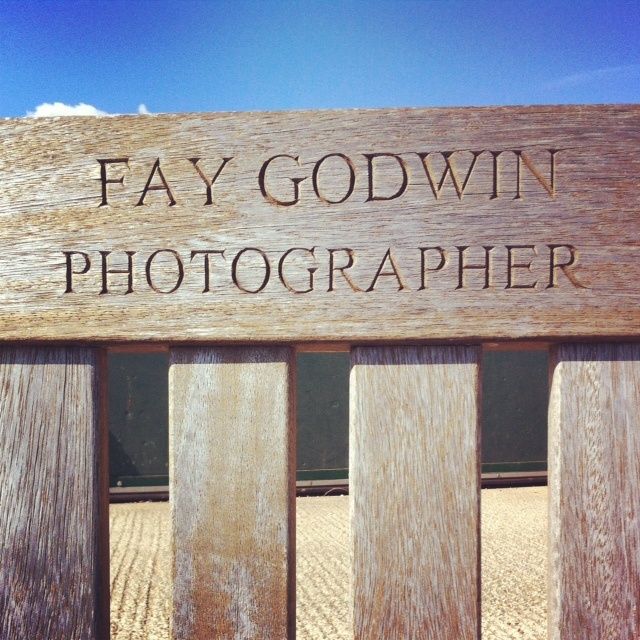 Fay Godwin's bench at Cliff End, Pett Level