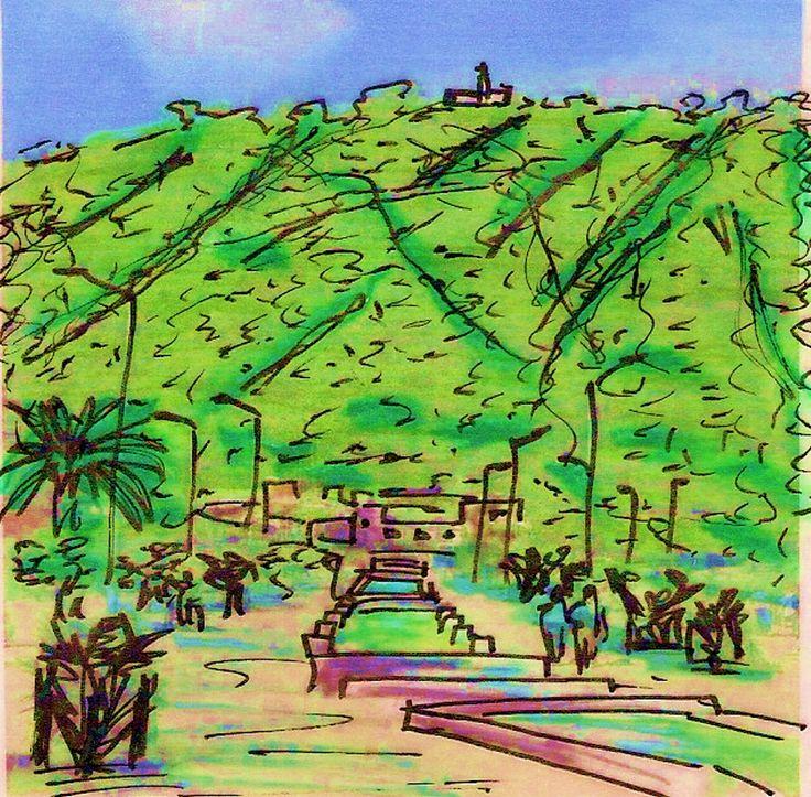 ''Eje Ambiental''  Tecnica: Dibujo a mano alzada sobre pergamino, con marcadores y edicion con saturacion de color.   Descripcion:Arquitectura de 1991-2001 Colombia. Autor:Rogelio Salmona-Luis Kopec