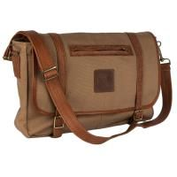 FREEDOM OF MOVEMENTS THE RUSSEL CANVAS & LEATHER KHAKI BAG