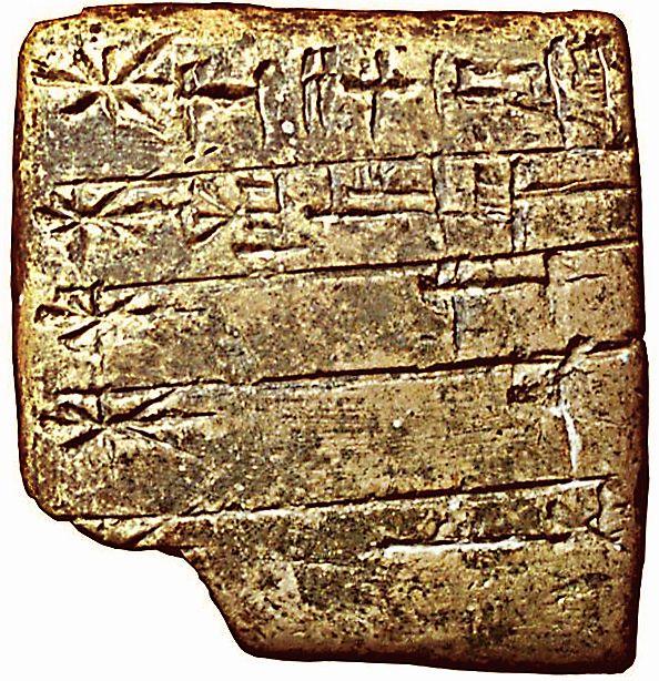 Lista de deuses em língua suméria a partir da escrita cuneiforme no século XXIV a.C.