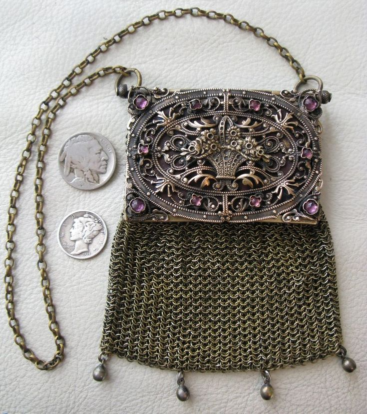 Antique Gold Tone Purple Jewel Basket FRENCH Chatelaine Mesh Coin Purse 1900s #Unbranded #ChangePurse