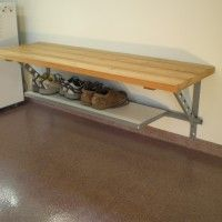 Furniture. large metal wood garage shoe bench over brown granite floor. Creative Garage Shoe Bench For All Interior Decor