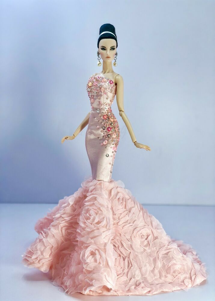 Pink Evening Dress Outfit Gown Fits Silkstone Barbie Fashion Royalty Model Doll