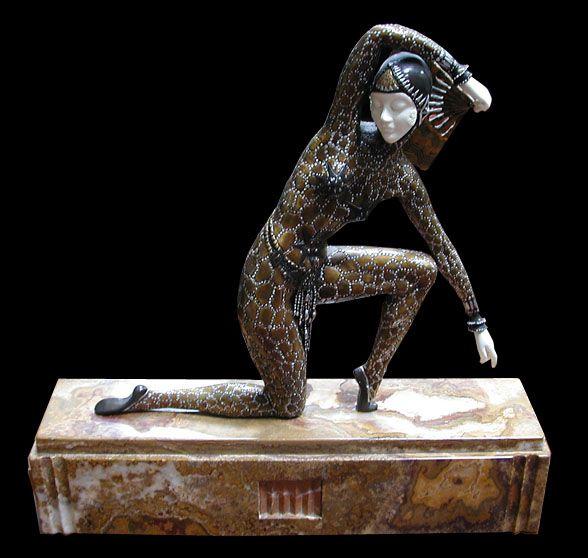 """Art Deco Sculpture """"Fan Dancer"""" By Demetre Chiparus:"""