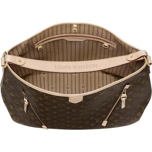 Cheap And Fine Louis Vuitton Delightful GM Brown Totes at Discount Price! | See more about louis vuitton, monograms and totes.