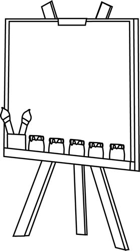 Black and White Easel Clip Art - Black and White Easel Image