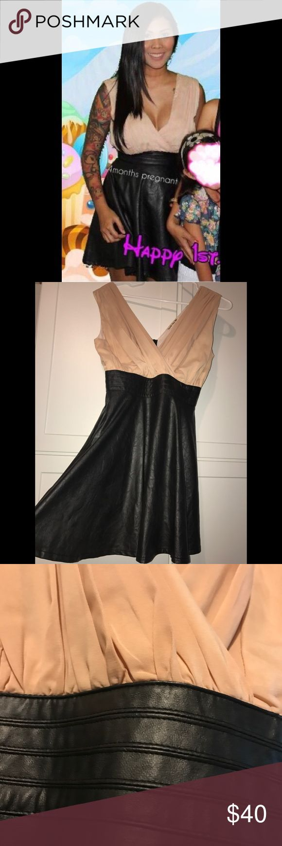 Faux leather peach color dress *DRESS HAS POCKETS*Top half light peachy color.                                            Bottom half of dress is faux leather.worn once to party Dresses