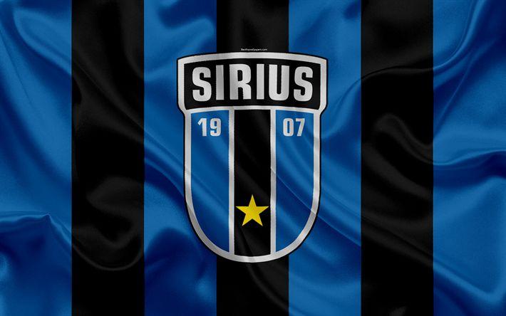 Download wallpapers Sirius FC, 4k, Swedish football club, logo, emblem, Allsvenskan, football, Uppsala, Sweden, silk flag, Swedish Football Championships, IK Sirius Fotboll