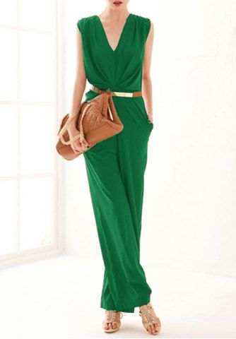 OL Style Plunging Neckline Sleeveless Solid Color Jumpsuit ...
