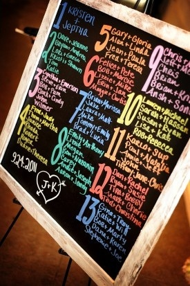 Colorful wedding seating chart for wedding guests