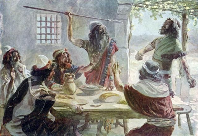 Introduction to the Book of 1 Samuel: King Saul hurls his spear at Jonathan, confirming his intent to kill David (1 Samuel 20:33).